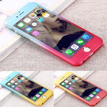 Luxury Hybrid Free Tempered Glass 360 Degrees Full Body Phone Case for iPhone 7 7 Plus 6 6S 6 6S Plus Gradient phone shell