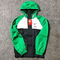 NIKE New fashion hook print couple hooded long sleeve coat windbreaker