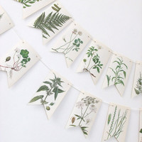 Botanical Bunting - Recycled Garland - eco-friendly banner -  green bunting - Mothers Day gift - wedding decor