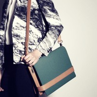 Leather and Fabric Shoulder Bag | Dark Aquamarine | & Other Stories