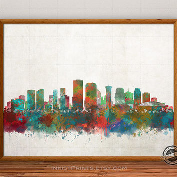New Orleans Skyline Watercolor Poster, Louisiana Print, Cityscape, City Painting, States, Illustration Art Paint, Giclee Wall, Home Decor