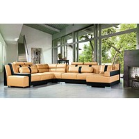 Luxury Sectional White Leather Sofa Set