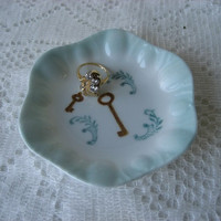 "Key Ring dish bowl 4""  Porcelain ceramic pottery aqua  blue ;Hand Painted and Kiln Fired  by B.Marsh Unique Gift Beautiful Color"