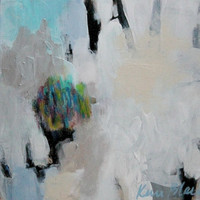 """Small Gestural Abstract Painting, Light Colors, Acrylic, Blue, White, """"What We Hold Close"""""""