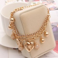 2017 New Fashion Jewelry Gold Chain Jewelry Heart Pendant Multilayer bracelets & bangles