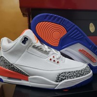 Air Jordan 3 Retro White/Orange Sneaker Shoes