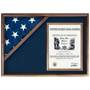 Display Cases for Flags From Military - Oak