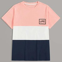 Fashion Casual Men Letter Graphic Cut And Sew Tee