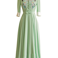 Green Bird and Floral Embroidery Notched Collar Half Sleeve Pleated Maxi Dress