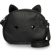 """""""3D CAT"""" WITH APPLIQUE EARS CROSS BODY BAG BY LOUNGEFLY (BLACK)"""