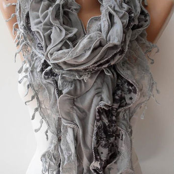 New - Light Grey Lace and Cotton Ruffle Scarf