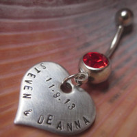 Silver Engraved names and date belly button ring Personalized Hand stamped Stainless Steel hearts for Summer, weddings, valentines