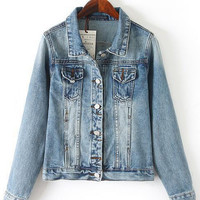 Full Buttoned Twin Mini Pocket Short Denim Jacket