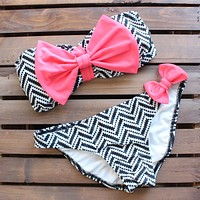 Final Sale - Dippin Daisys - Tribal Chevron Pink Bow Bikini in Pink, Black, and White