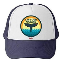 Save Our Oceans White/Navy Trucker Hat