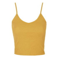 Ribbed Cropped Cami - Mustard