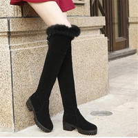 Over The Knee Flat  Fur Boots