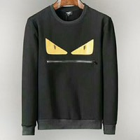 Fendi autumn and winter new men's small monster eyes spell leather zipper mouth round head collar sweater