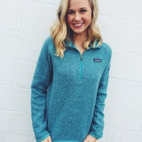 Patagonia Women's Better Sweater Quarter Zip Pullover- Mogule Blue