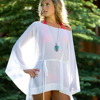SALE Short Draped Sheer Coverup with Long by SarahReneeDesigns