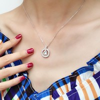 DCCK S067 Swarovski simple round crystal pendant necklace clavicle chain