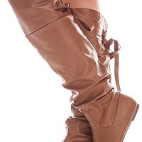 COGNAC FAUX LEATHER OVER THE KNEE BACK STRAP BOOTS