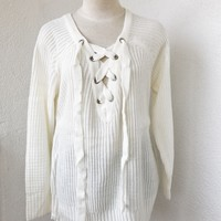 ANDREA OVERSIZE LACE UP SWEATER- BEIGE