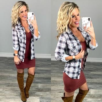 Penny Plaid Flannel Top - Ivory/Spice