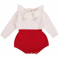 Long Sleeve Baby Rompers Newborn Baby Girl Clothing Knitted Girls Kids Jumpsuits;Baby Girl Romper 2017 for Autumn Kids Overalls