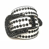 b.b. Simon 'Dice' Double Row Black Swarovski Crystal Belt