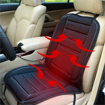 Car Heated Seat Cover Warmer Seat Heating Cushion DC12V Seat Cushion Cover Heating Carbon Fiber keep Warm for Winter Black Color