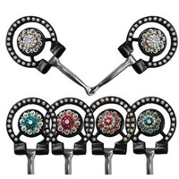 "Saddles Tack Horse Supplies - ChickSaddlery.com Showman 5 1/2"" Broken Snaffle With Crystal Rhinestone Conchos On O Ring Cheeks"