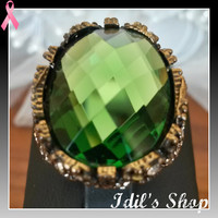 Authentic Turkish Ottoman Style Bronze Ring With A Big Green Crystal Stone. Ring Number Is 7 In US Size.