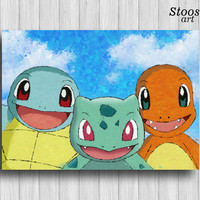 Squirtle Bulbasaur Charmander pokemon print best friend gift pokemon nursery decor