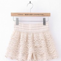 Korean Style Fashion Womens Sweet Cute Crochet Tiered Lace Shorts Pants Beige Color