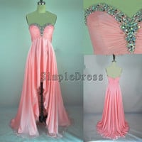 Real Beach Sweetheart Count Train Chiffon Beading by Simpledress