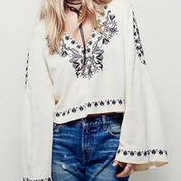 White V Neck Embroidery Bell Sleeve Top