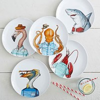 Dapper Animal Salad Plates