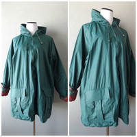 Plaid Lined Rain Coat Forest Green Vintage 90s Womens Vinyl Raincoat Size XL Extra Large Waterproof Hooded Jackets 1990s Hipster Slicker