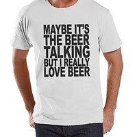 Men's Funny Tshirt - Drinking Shirts - I Love Beer - Mens Drinking Gifts - Funny Gift For Him - White Tshirt - St Patricks Day Shirt