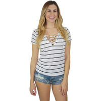 Mila Striped Lace Up Tee in Ivory Stripe