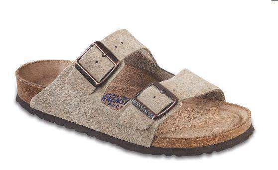 Image of Women's Arizona Sandal in Taupe Suede with Soft Footbed by Birkenstock