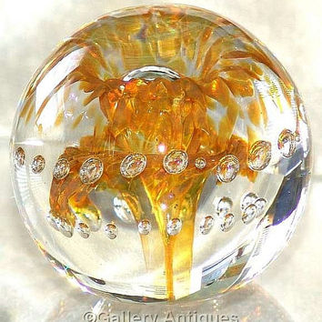 Vintage Langham Glass Amber Double Fountain and Controlled Bubble Art Glass Large and Heavy Paperweight signed c.1990's (ref: 4001)
