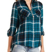 Flyaway Plaid Button-Up Tunic Top by Charlotte Russe