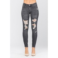 Grey Mid Rise Destroyed Skinny 8857