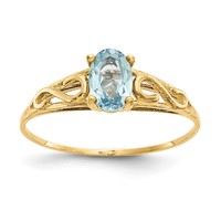 14k Yellow Gold Madi K Children's Simulated Aquamarine March Birthstone Ring