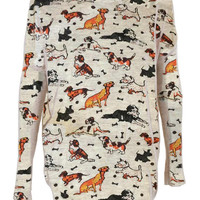 Dogs print top jumper knitwear shirt womens ladies cardigan scotty Dachshund hound stock dog sheep dog basset hound labrador poodle