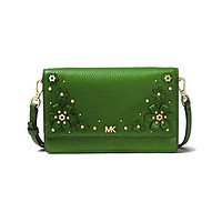 MICHAEL Michael Kors Floral Embellished Pebbled Leather Convertible Crossbody