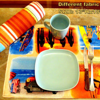 Beach reversible Surf and striped 13x18 placemats (Set of 4)