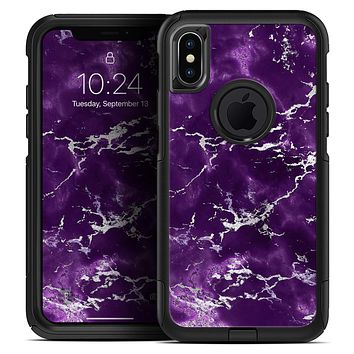 Purple Marble & Digital Silver Foil V7 - Skin Kit for the iPhone OtterBox Cases